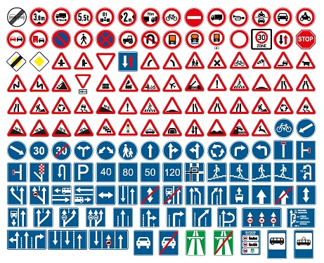 road signs vector. traffic sign. clipart