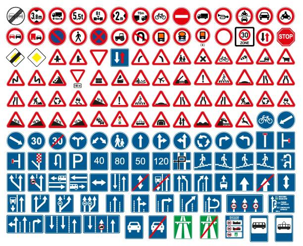 road signs vector. traffic sign. - traffic stock illustrations