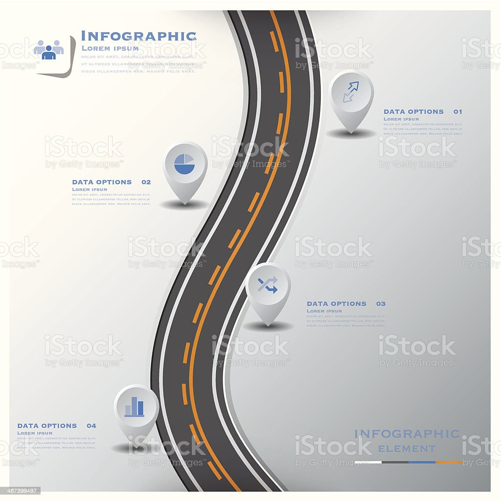 Road & Street Traffic Sign Business Infographic Design Template vector art illustration