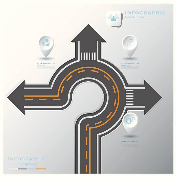 stockillustraties, clipart, cartoons en iconen met road & street traffic sign business infographic design template - rotonde kruispunt
