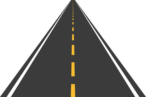 Road, street with asphalt. Straight highway, speedway for motor transport. Vector illustration