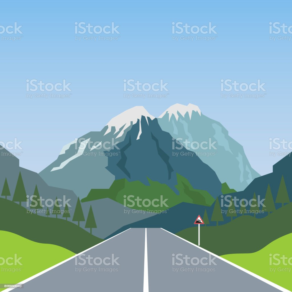 Road stretches into the mountains vector art illustration