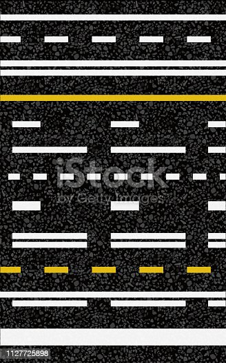 Road surface marking. Vector illustration. The texture of the asphalt.