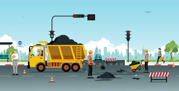 road surface repair Workers are repairing road surfaces with traffic lights. urban road stock illustrations
