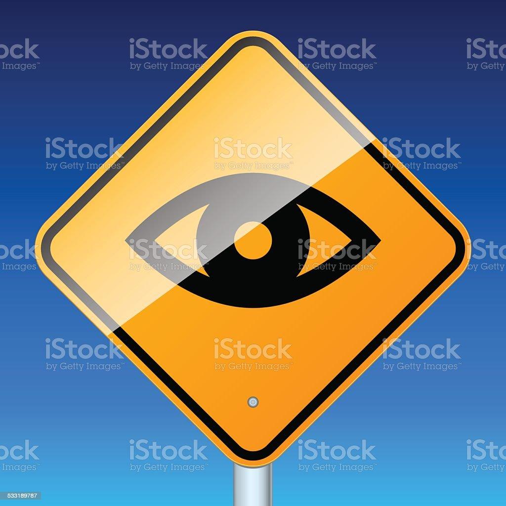 Road surveillance sign on blue vector art illustration