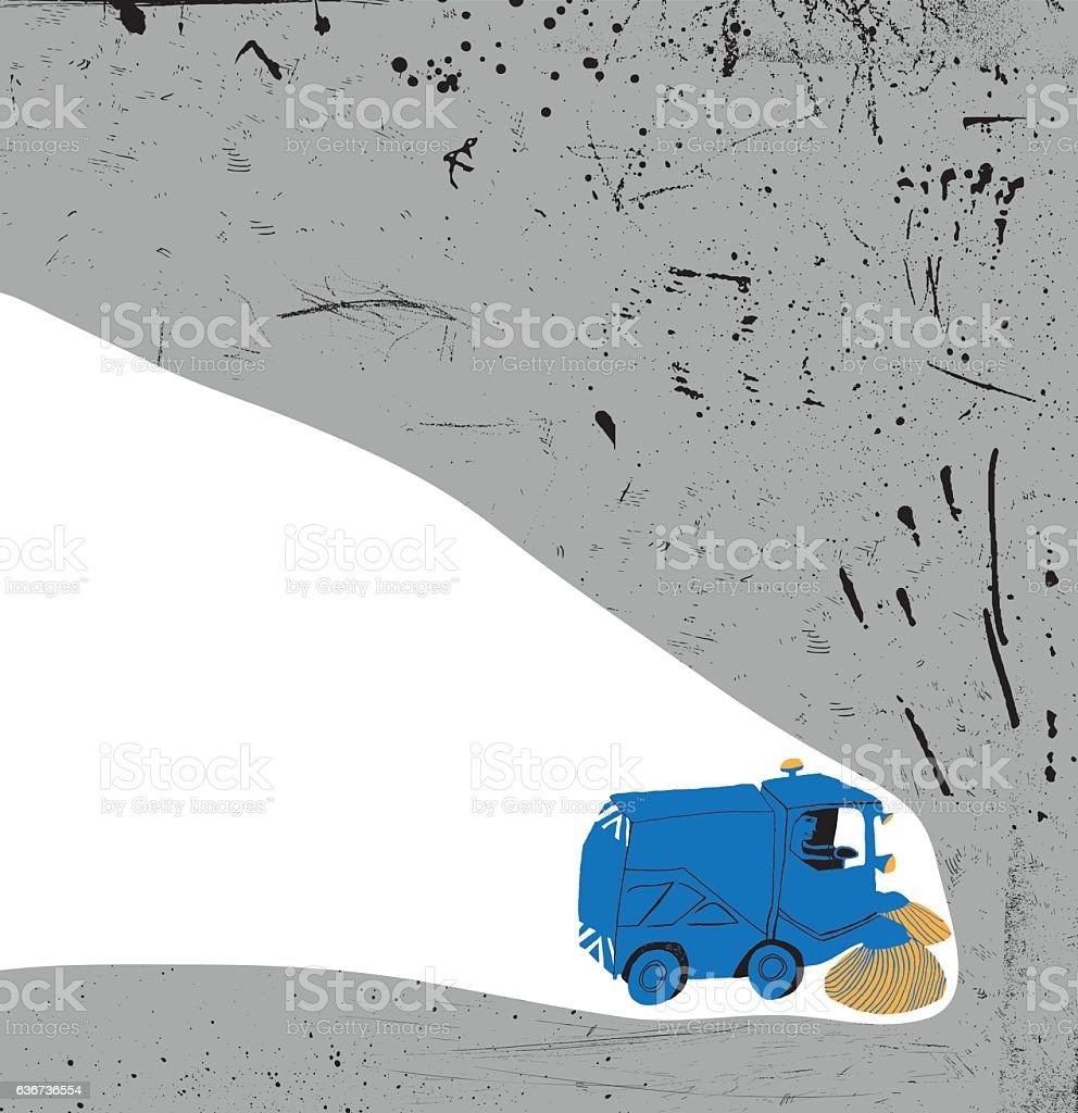 Road sweeper vector art illustration