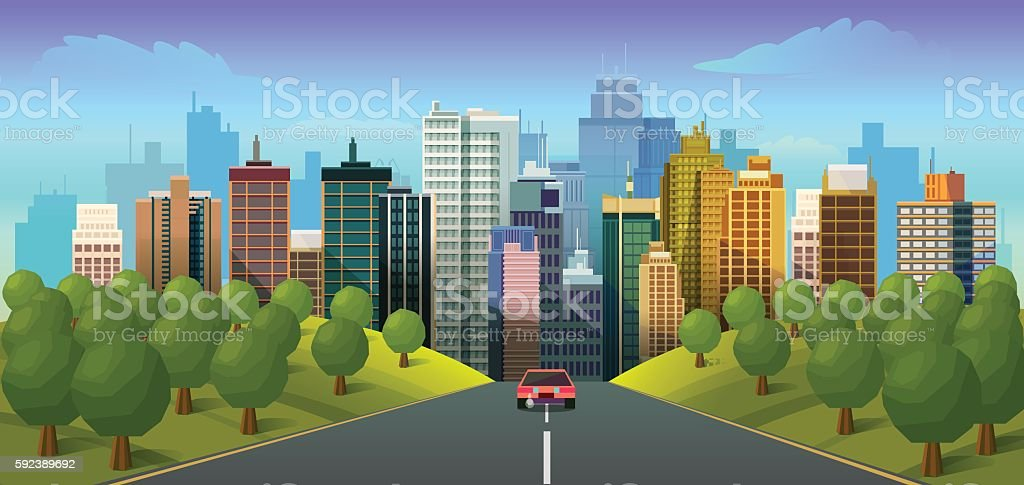 Road through the countryside into the city vector art illustration