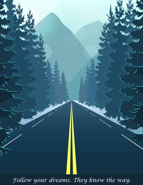丘や山につながる森の中の道 - 森林 俯瞰点のイラスト素材/クリップアート素材/マンガ素材/アイコン素材