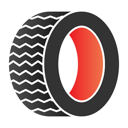 Road tire flat icon. Auto wheel color icons in trendy flat style. Car part gradient style design, designed for web and app. Eps 10.