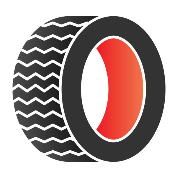 illustrazioni stock, clip art, cartoni animati e icone di tendenza di icona piatta degli pneumatici da strada. icone automatiche dei colori delle ruote in stile piatto alla moda. design dello stile sfumato della parte dell'auto, progettato per il web e l'app. eps 10. - transport truck tyres