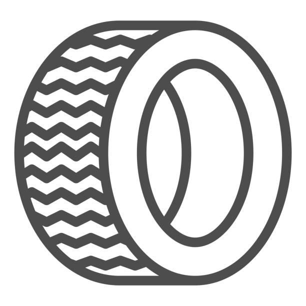 illustrazioni stock, clip art, cartoni animati e icone di tendenza di icona della linea di pneumatici da strada. illustrazione vettoriale ruota automatica isolata su bianco. design dello stile del contorno della parte dell'auto, progettato per il web e l'app. eps 10. - transport truck tyres