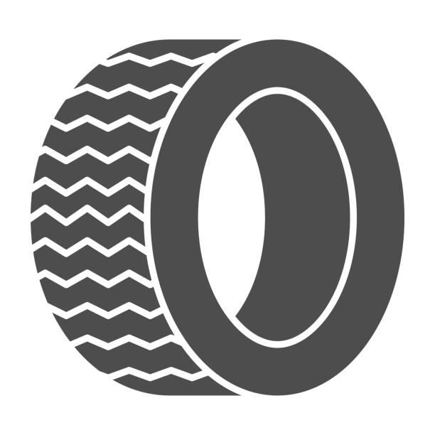 illustrazioni stock, clip art, cartoni animati e icone di tendenza di icona solida dello pneumatico da strada. illustrazione vettoriale ruota automatica isolata su bianco. design in stile glifo della parte dell'auto, progettato per web e app. eps 10. - transport truck tyres