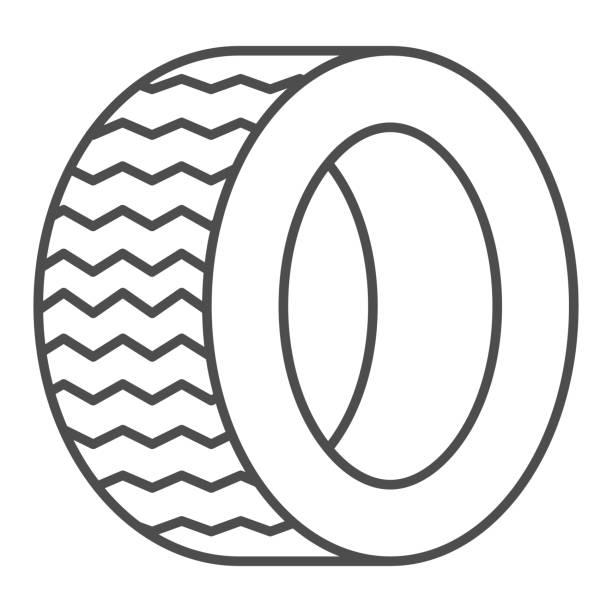 illustrazioni stock, clip art, cartoni animati e icone di tendenza di icona della linea sottile degli pneumatici da strada. illustrazione vettoriale ruota automatica isolata su bianco. design dello stile del contorno della parte dell'auto, progettato per il web e l'app. eps 10. - transport truck tyres