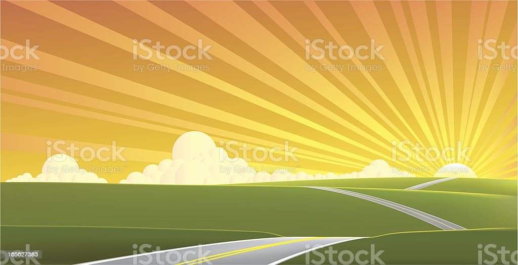 Road to a sunset horizon royalty-free road to a sunset horizon stock vector art & more images of backgrounds