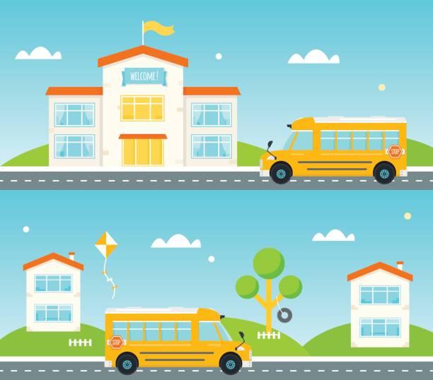 weg von und zur schule. schulbus, gebäude, häuser entlang der straße - grundschule stock-grafiken, -clipart, -cartoons und -symbole