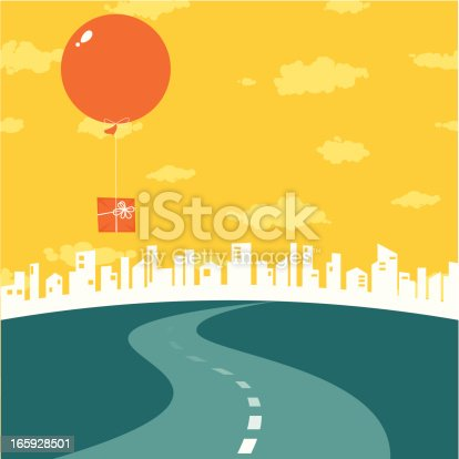 Road to the city. Big air balloon with gift in the sky.