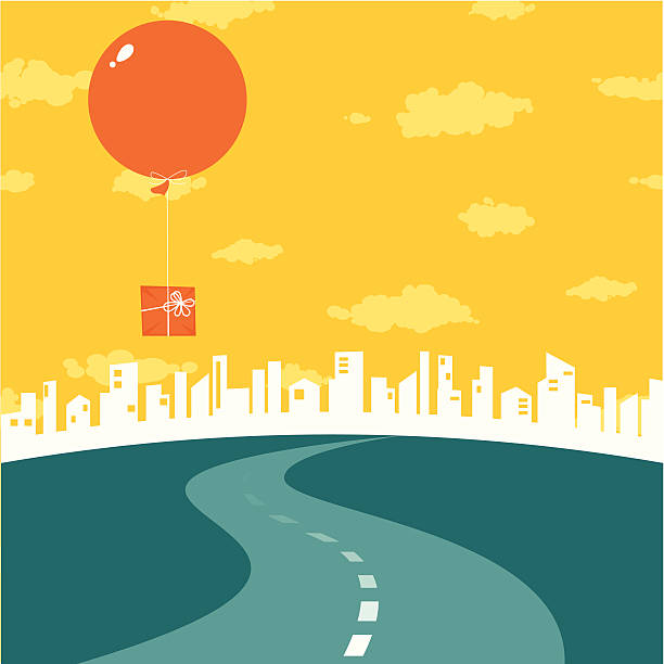 Road to big city Road to the city. Big air balloon with gift in the sky. distant stock illustrations