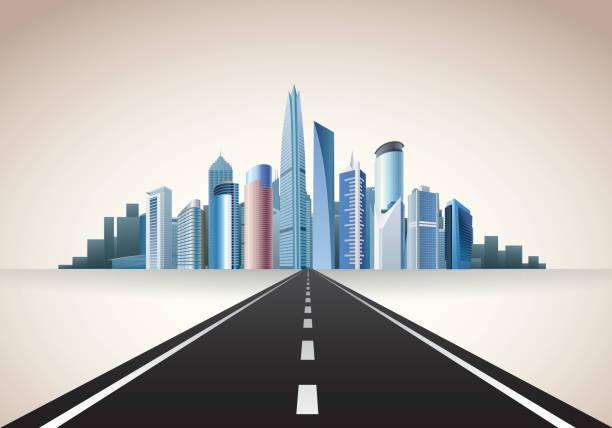 bildbanksillustrationer, clip art samt tecknat material och ikoner med road to city - future city