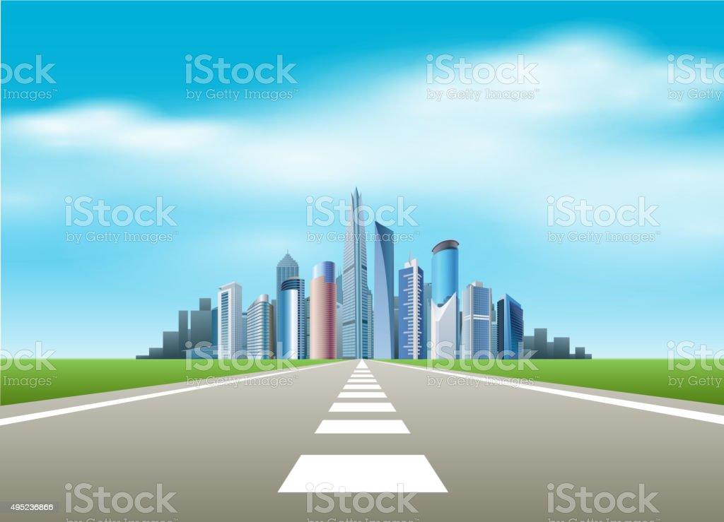 Road to city vector art illustration