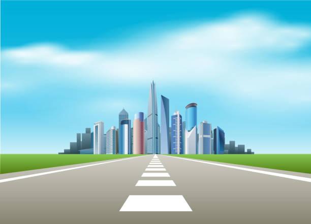ilustrações de stock, clip art, desenhos animados e ícones de estrada para a cidade - driveway, no people
