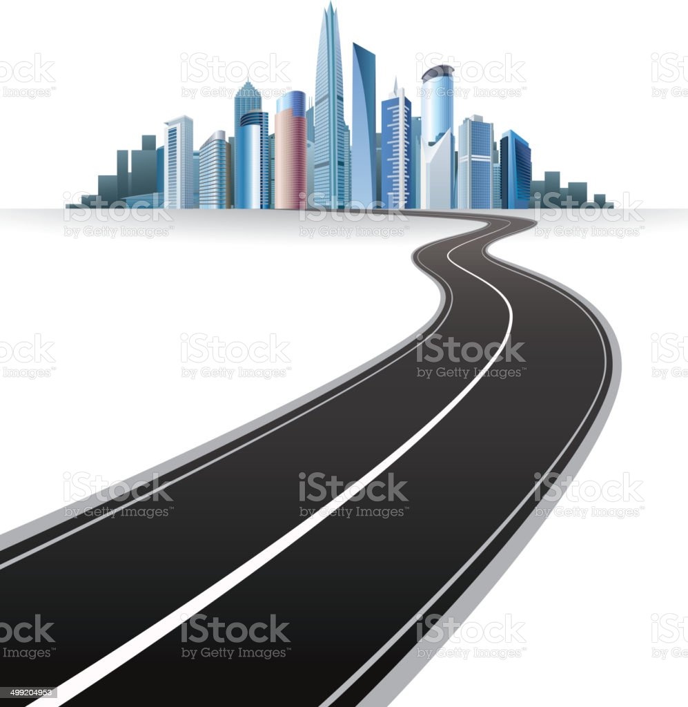 Road to city royalty-free stock vector art