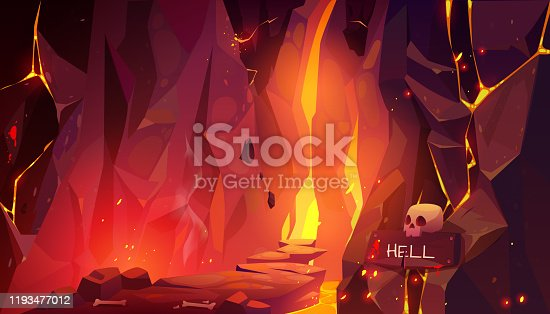 istock Road to hell, infernal hot cave with lava and fire 1193477012