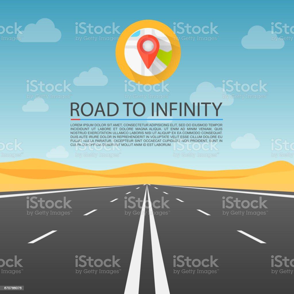 Road to infinity highway, Road in the desert, Vector illustration, Road background. vector art illustration
