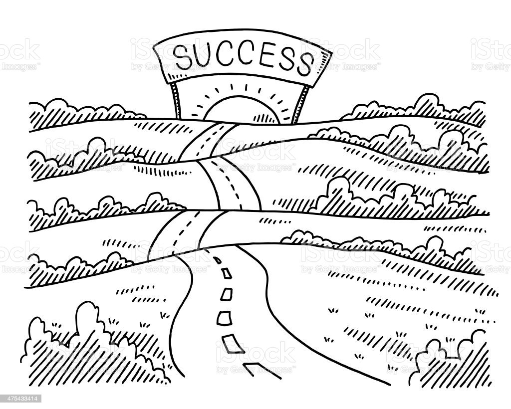 Road To Success Landscape Drawing Stock Vector Art & More Images of ...