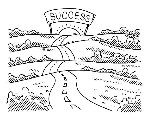 Road To Success Landscape Drawing Hand-drawn vector drawing of a Road To Success Landscape. Black-and-White sketch on a transparent background (.eps-file). Included files are EPS (v10) and Hi-Res JPG. business stock illustrations