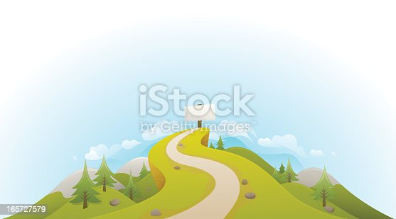 A rolling vector landscape showing a path leading up to a blank sign. Made from global swatches, smartly grouped on layers - see my portfolio for more!