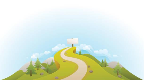 road to success landschaft - landstraße stock-grafiken, -clipart, -cartoons und -symbole