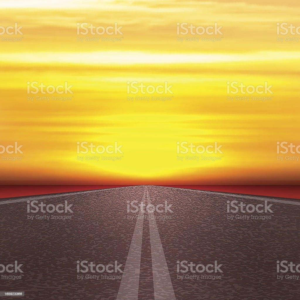 Road to Sun vector art illustration