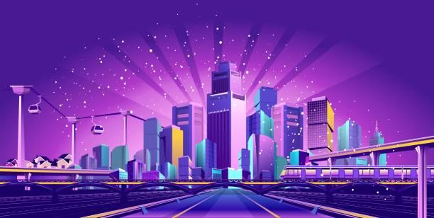 bildbanksillustrationer, clip art samt tecknat material och ikoner med vägen till den stora staden - future city