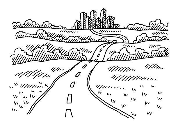 Road To The City Drawing Hand-drawn vector drawing of a Road To The City. Black-and-White sketch on a transparent background (.eps-file). Included files are EPS (v10) and Hi-Res JPG. transportation stock illustrations