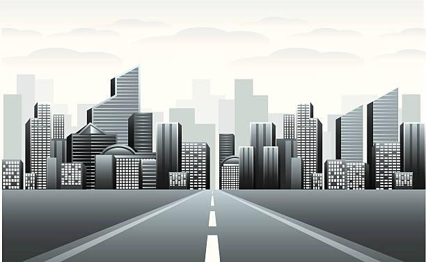 дорога к городской город - иллюстрации на тему архитектура stock illustrations