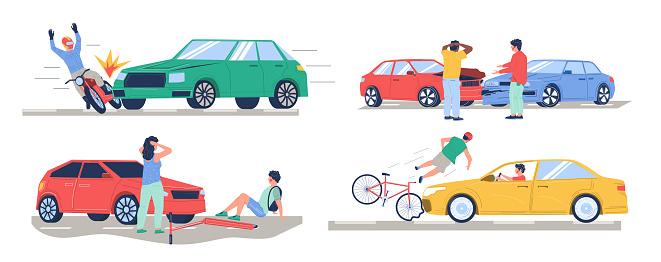 Road traffic accident, car crash set, vector flat isolated illustration