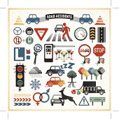 Traffic accident design elements. Hi-res JPG and AICS3 included. EPS10 with global colors. Transparencies used. Individual elements. Related images linked below. http://i161.photobucket.com/albums/t234/lolon5/traffic_icons_zps2fdb1221.jpg