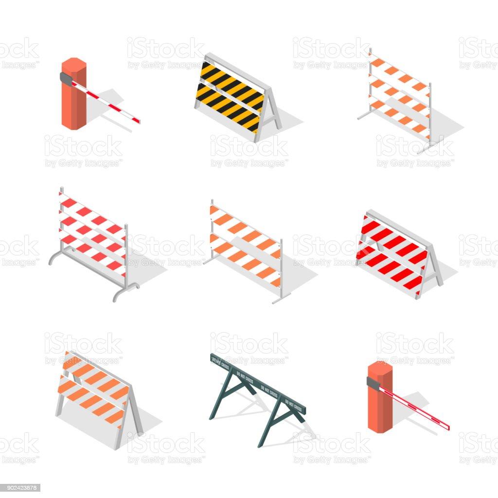 Road traffic barrier isometric, vector illustration. vector art illustration