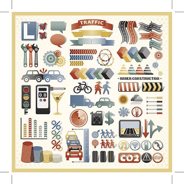 bildbanksillustrationer, clip art samt tecknat material och ikoner med road traffic infographic icons - data visualization co2