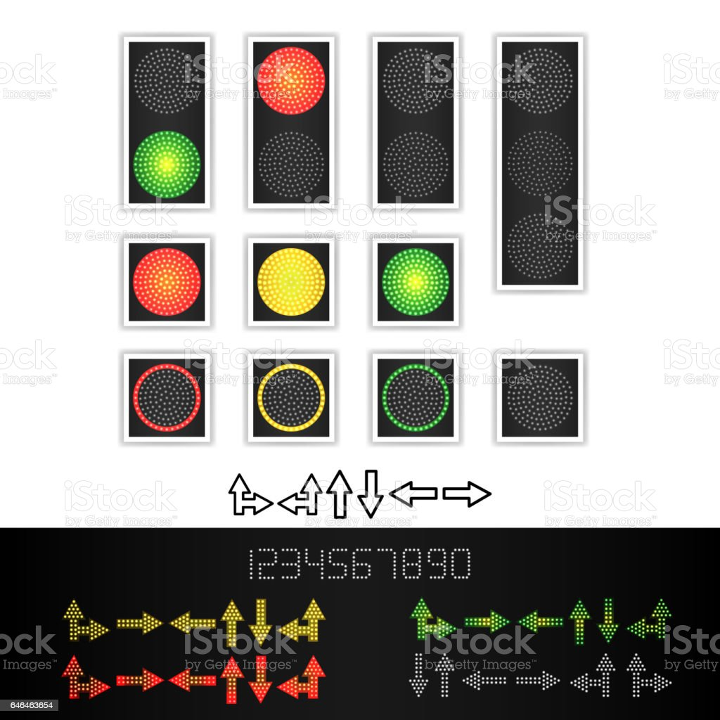 Road Traffic Light Vector. Realistic LED Panel. Sequence Lights Red, Yellow, Green. Time, Turn, Go, Wait, Stop Signals. Isolated On White Background vector art illustration