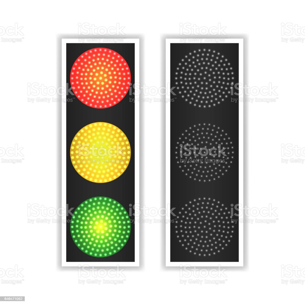 Road Traffic Light Vector. Realistic LED Panel. Sequence Lights Red, Yellow, Green. Go, Wait, Stop Signals. Isolated On White Background vector art illustration