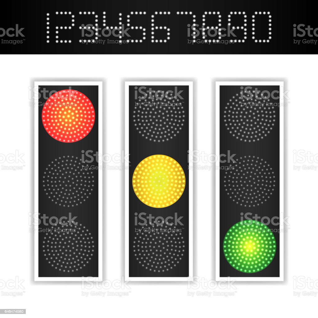 Road Traffic Light Vector. Realistic LED Panel With Time. Sequence Lights Red, Yellow, Green. Go, Wait, Stop Signals. Isolated On White Background vector art illustration