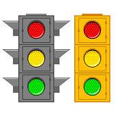 Traffic light vector flat set.