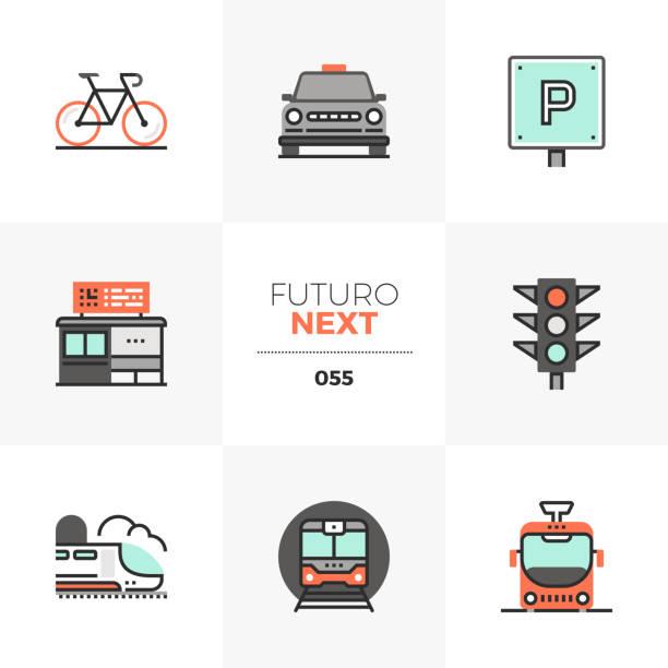 ilustrações de stock, clip art, desenhos animados e ícones de road transport futuro next icons - driveway, no people