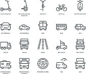 Road Transport Icons-mix view,  Monoline concept