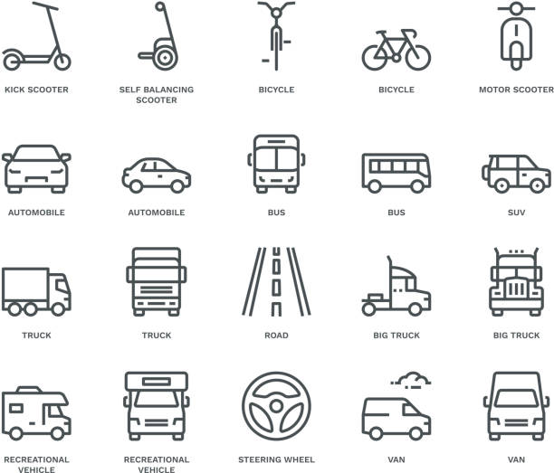 Road Transport Icons-mix view,  Monoline concept The icons were created on a 48x48 pixel aligned, perfect grid providing a clean and crisp appearance. Adjustable stroke weight steering wheel stock illustrations