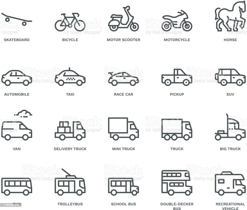 Road Transport Icons-side view,  Monoline concept The icons were created on a 48x48 pixel aligned, perfect grid providing a clean and crisp appearance. Adjustable stroke weight Animal stock vector
