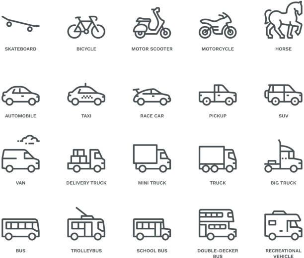 illustrazioni stock, clip art, cartoni animati e icone di tendenza di vista lato icone di trasporto stradale, concetto monoline - auto