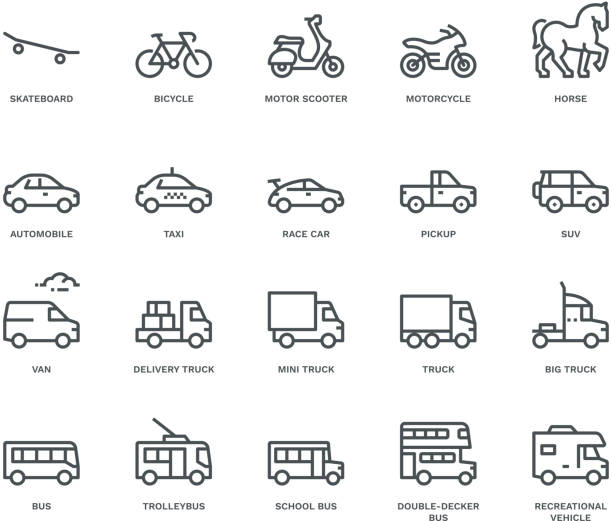 Road Transport Icons-side view,  Monoline concept The icons were created on a 48x48 pixel aligned, perfect grid providing a clean and crisp appearance. Adjustable stroke weight personal land vehicle stock illustrations