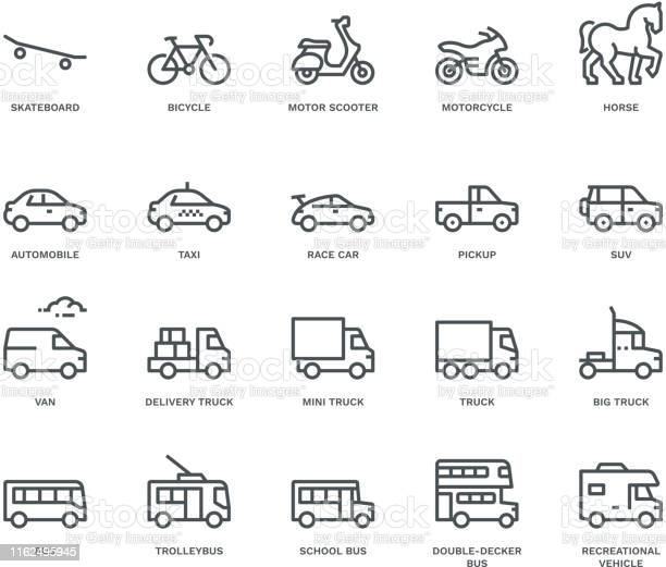 Road Transport Iconsside View Monoline Concept Stock Illustration - Download Image Now